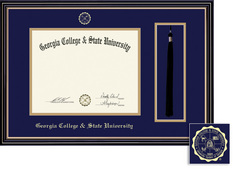 Framing Success Prestige DiplomaTassel  Frame, Double Matted in satin black finish, gold trim