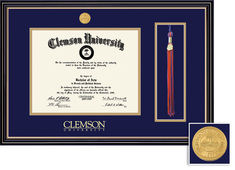 Diploma and Tassel with Medallion and Navy Blue and Gold Double Mat in Prestige