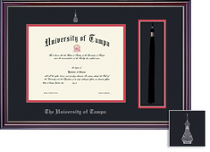Framing Success Jefferson Diploma & Tassel Frame. Double Matted in Gloss Cherry Finish, Silver Bevel