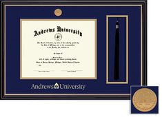 Framing Success Prestige Mdl Diploma & Tassel Frame. Double Matted in Satin Black Finish, Gold Trim