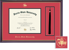 Ferris State University BA, MA Diploma and Tassel Window with Red and Black Double Mat in Windsor