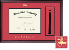 Ferris State University BAMA Diploma and Tassel Window with Red and Black Double Mat in Classic
