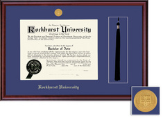 Framing Success Diploma Frame & Tassel Cutout wMedallion in a Burnished Cherry Finish