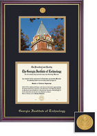Framing Success Diploma Frame With Photo in Gloss Cherry Finish and Gold Trim