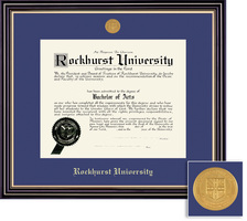Framing Success Prestige Diploma Frame with Medallion, Dbl Matted in Satin Black Finish, Gold Trim