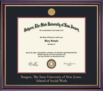 Framing Success Windsor Social Work Diploma Frame in Gloss Cherry Finish and Gold Trim
