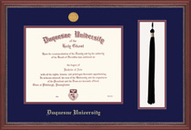 Grandeur Doctorate Diploma Frame with Tassel with a Mahogany Finish & Carved Inner Border