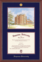 Grandeur Doctorate Diploma Frame and Litho with Mahogany Finish and Carved Inner Border
