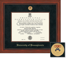 Framing Success Millennium Diploma Frame wMedallion, Dbl Matted in Cherry Finish, beaded inner edge.