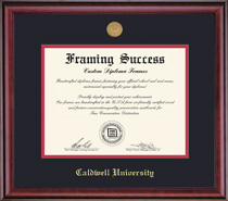Framing Success Classic MA Diploma Frame with Medallion, Dbl Mat in Burnished Cherry Finish