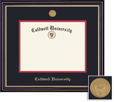 Framing Success Prestige MA Diploma Frame wMedallion, Dbl Matted in Satin Black Finish, Gold Trim