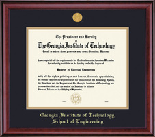 Framing Success Class School of Engineering Mdl Dip Frame, Dbl Matted in Burnished Cherry Finish