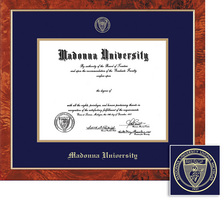 Framing Success Traditional Diploma Frame, Dbl Matted in Burled Walnut Finish. Bachelors & Masters