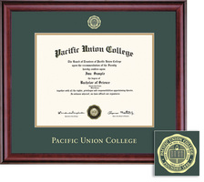Framing Success Pacific Union College Diploma Frame With GreenGold Double Mat And Gold Embossing