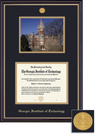 Framing Success Diploma Frame With Photo Satin Black Finish, Gold Trim