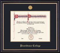 Prestige Medallion Diploma FrameDouble Matted In Satin Black Finish & Gold Trim