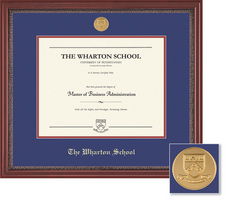 Framing Success Wharton School Grandeur Moulding Single Diploma Frame With Gold Medallion