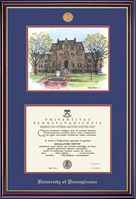 University Of Pennsylvania Windsor Moulding Lithograph Diploma Frame With Gold Medallion