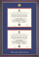 University Of Pennsylvania Windsor Moulding Double Diploma Frame With Gold Medallion