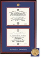 Framing Success University Of Pennsylvania Classic Moulding Double Diploma Frame With Gold Medallion
