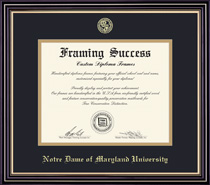Prestige MA Diploma Frame Double Mat In Satin Black Finish, Gold Trim