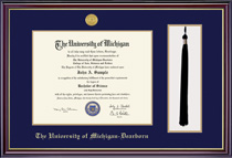 Windsor 12 Pres Medallion Diploma and Tassel Double Matted Frame in Gloss Cherry Finish