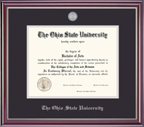 Jefferson Medallion Double Matted Diploma Frame with a HighGloss Cherry Finish