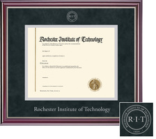 Framing Success Jefferson Diploma Frame in High Gloss Cherry Finish  with Silver Inner Bevel