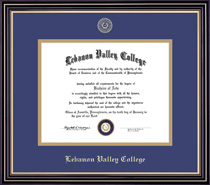 Prestige Diploma Frame Double Matted in Satin Black Finish, Gold Trim