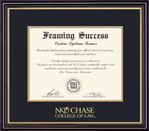 Prestige Law Diploma Frame, in Satin Black Finish, Gold Trim