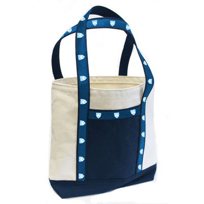 Medium tote with college logo ribbon