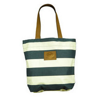 Striped Tote with Leather Handle