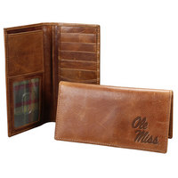Checkbook sized wallet made of vegetable tanned full grain leather.