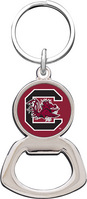 South Carolina Gamecocks Silver Tone Bottle Opener Keychain