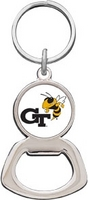 Georgia Tech Silver Tone Bottle Opener Keychain