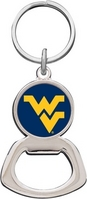 WVU Mountaineers Silver Tone Bottle Opener Keychain
