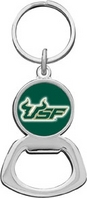 South Florida Bulls Silver Tone Bottle Opener Keychain