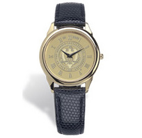 Georgia Tech Mens Wristwatch with Black Lizard Grain Leather Strap