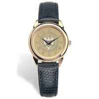 Georgia Tech Womens Wristwatch with Black Lizard Grain Leather Strap