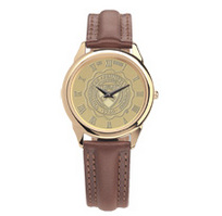 Mens wristwatch with brown leather strap