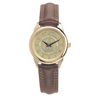 Womens wristwatch with brown leather strap