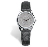 Womens wristwatch with black lizard grain leather strap