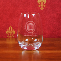 Ole Miss Campus Crystal Stemless Wine Glass