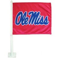 Ole Miss Car Flag with Plastic Rod