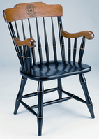 Captains Chair with Black Solid Maple Hardwood, Cherry Finished Arms and Crown