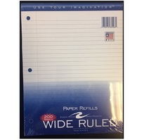 WIDE RULED FILLER PAPER, 200 COUNT (Incarcerated Approved)