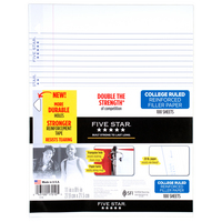 Five Star Reinforced Filler Paper, College Ruled, 11 x 8 12, 100 SheetsPack