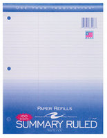 Summary Law Ruled White Filler Paper 11 X 8 1/2 100 Sheet