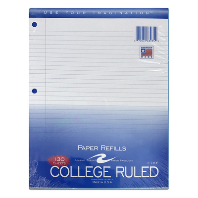 Roaring Spring College Ruled Filler Paper, 11x8.5, 130 Sheets