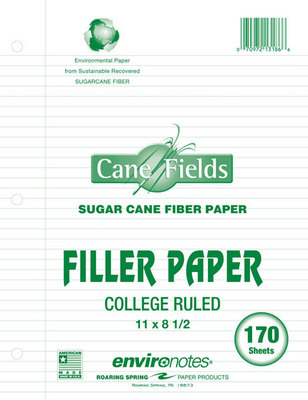 Bio Based Filler College ruled High Performance paper